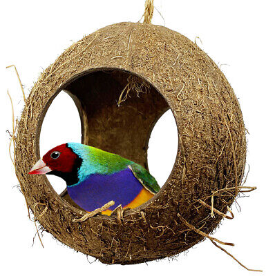 2114 Three Hole Coco Nest Hut parrot cage toys cages conure cockatiel budgie -