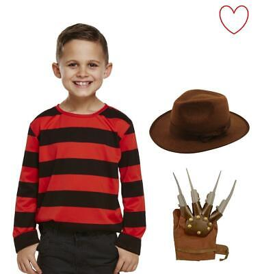 Kids Freddy Jumper, Hat, Glove, Halloween Scary Elm St