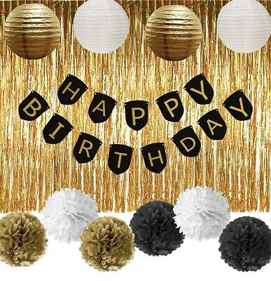 Black And Gold Party Supplies (Happy Birthday Banner Decorations Black and Gold Party Decorations Set)