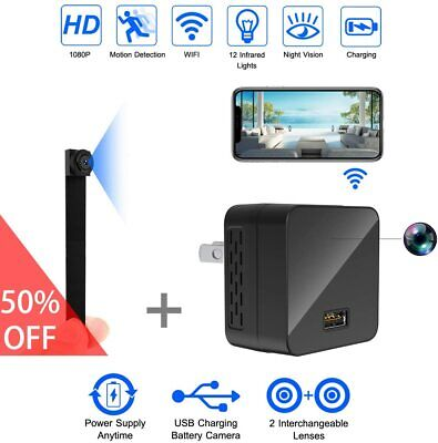 Hidden Mini Spy Camera WiFi HD 1080P Portable Wireless Dual Lens Motion Detect