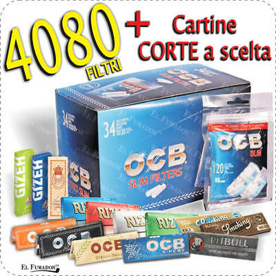 4080 Filtri OCB SLIM 6mm + CARTINE CORTE ENJOY RIZLA OCB BRAVO SMOKING GIZEH