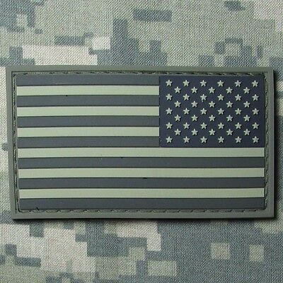 USA REVERSE FLAG RUBBER PVC TACTICAL ARMY MORALE MILSPEC ACU DARK HOOK PATCH