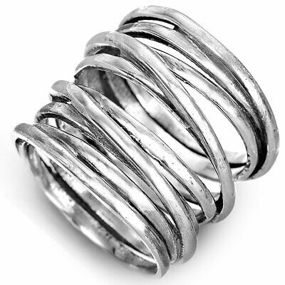 Wrap Ring for Women Sterling Silver Simple Statement Large Chunky Size 7 8 9 10