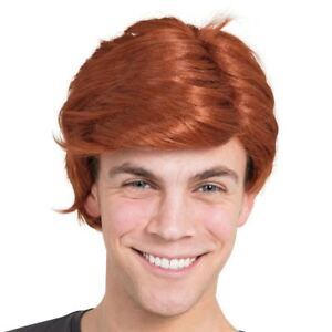 Mens Ginger Boy Band Side Parting Scottish Teenage Model Ken Wig Fancy Dress New