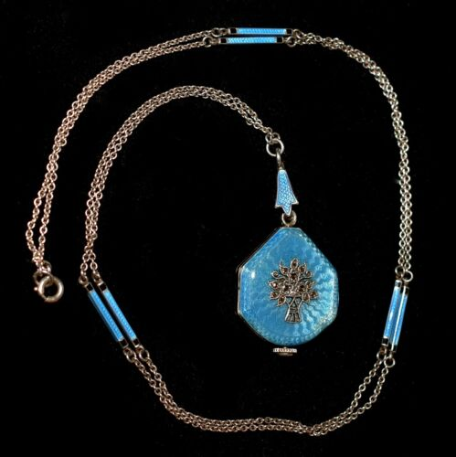 MAGNIFICENT Antique STERLING ENAMEL GUILLOCHE Marcasite WATCH Necklace  WORKS!!!