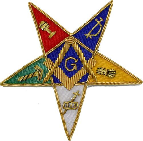 MASONIC ORDER OF EASTERN STAR OES EMBLEM G PATCH HAND EMBROIDERED Best Quality