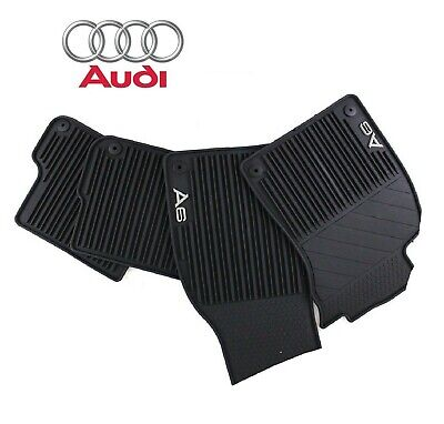 Genuine Set of Front Rear All Weather Black Rubber Floor Mat for Audi A6 Quattro (Audi Front Floor Mat)
