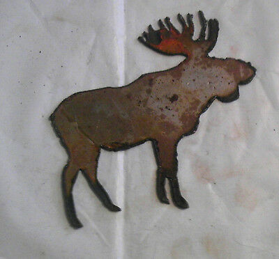 "6"" Bull Moose Shape Deer Animal Rusty Rustic Vintage Metal Wall Art Craft Sign"