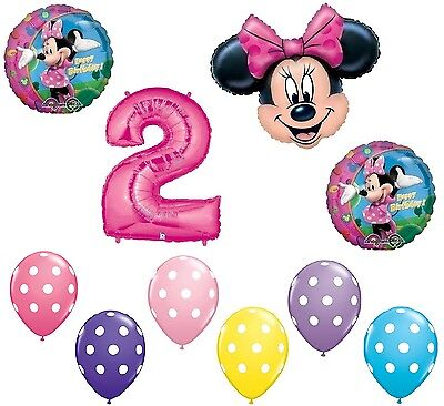 MINNIE MOUSE # 2nd Pink Bow Birthday Party Decoration Mylar & Latex Balloon Set](Minnie Mouse 2nd Birthday Decorations)