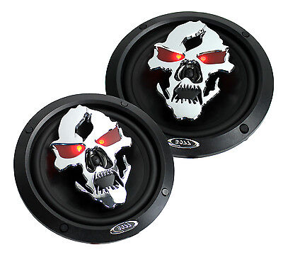"""2) NEW BOSS SK652 6.5"""" 300W 2-Way Full Range Phantom Skull Car Audio Speakers"""