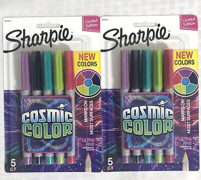 2 Packs Sharpie Cosmic Colors Ultra Fine Point Permanent Markers New Colors