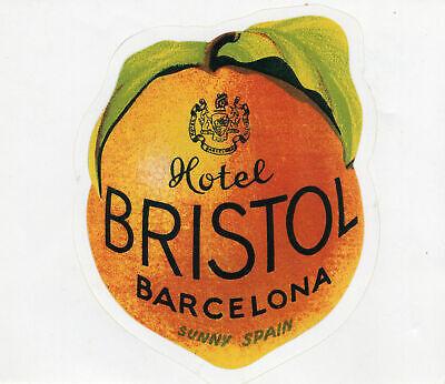 Vintage Hotel Bristol, Barcelona, Sunny Spain Orange Luggage Label, Orig. Back