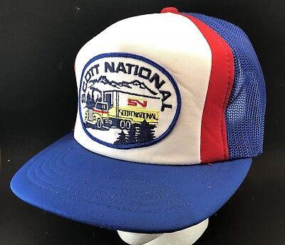 Vtg Scott National Trucking Hat Mesh Trucker Snapback Big Patch Cap Semi 80s Scott Mesh Cap