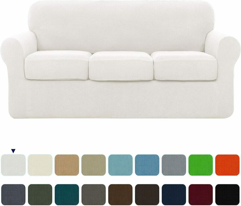 subrtex High Stretch Jacquard Slipcover with 3 Separate Cushion Common Couch Sof