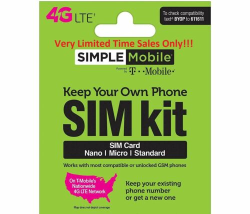 Simple Mobile Prepaid SIMCard + $50 Plan X 3 Months Unimited LTE & 10GB Hotspot