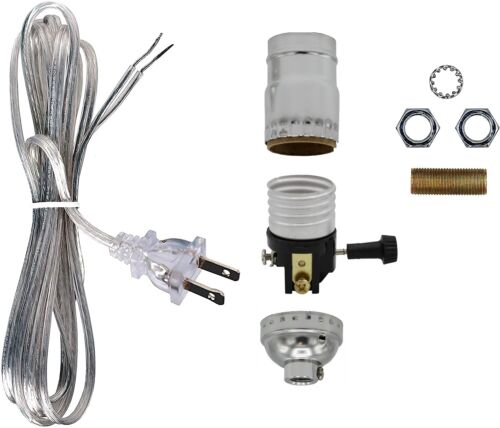 Make a Lamp or Repair Kit - All Essential Hardware, 3 Way Socket - Silver