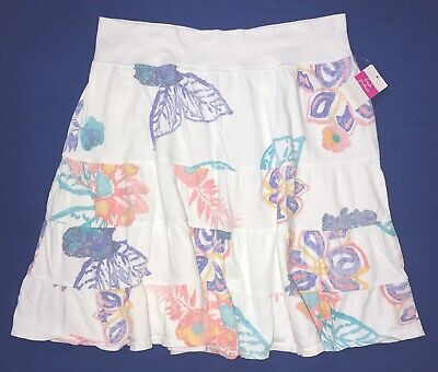 FRESH PRODUCE Large White SUMMER FLORAL Tiered Jersey Skirt $59 NWT New L