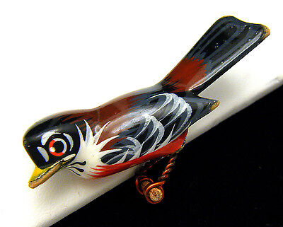 Vintage 1970s Carved Wood Bird Brooch Pin Hand Painted Blue Gray Red Belly  on Lookza