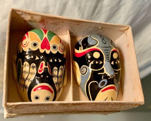 Miniature Masks Representing Chinese Opera Face Makeup, Set of 2
