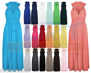 LADIES-LONG-STRETCH-WOMENS-MAXI-DRESS-COIL-SPRING-1SIZE