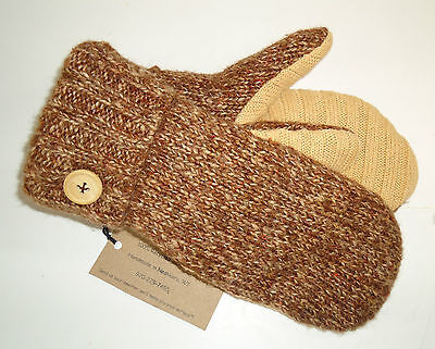 Brown Fleece Lined Recycled Wool Sweater Mittens W Tags