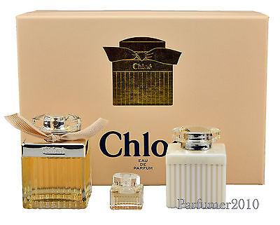 Parfüm Eau De Parfum Miniatur ( Chloe Chloe 75 ml Eau de Parfum + 5 ml  Miniatur EDP+ 100 ml Bodylotion )