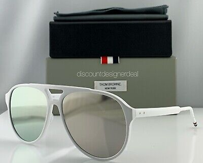 Thom Browne Aviator Sunglasses White Frame Gold Flash TBS408-63-03 1 Of 300 (Cheap White Sunglasses)