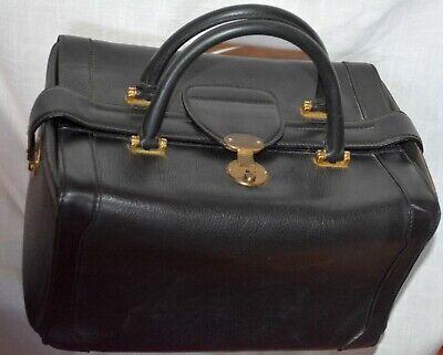 Gucci Black Leather Train Case Cosmetic Travel Bag Vintage Dr vintage