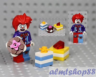 LEGO - Birthday Party Clown Minifigure w/ Spiked Red Hair Cake Presents Minifig