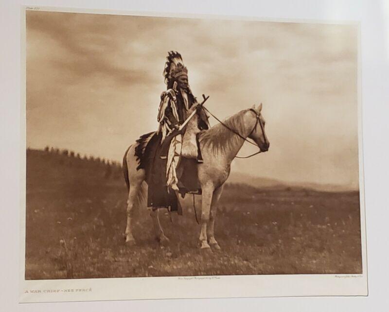 "Original 1905 Edward Curtis ""A War Chief - Nez Percé"" Photograuvre Plate 271"