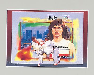 Uganda 1996 Olympics, Judo 1v S/S Unissued Chromalin Essay