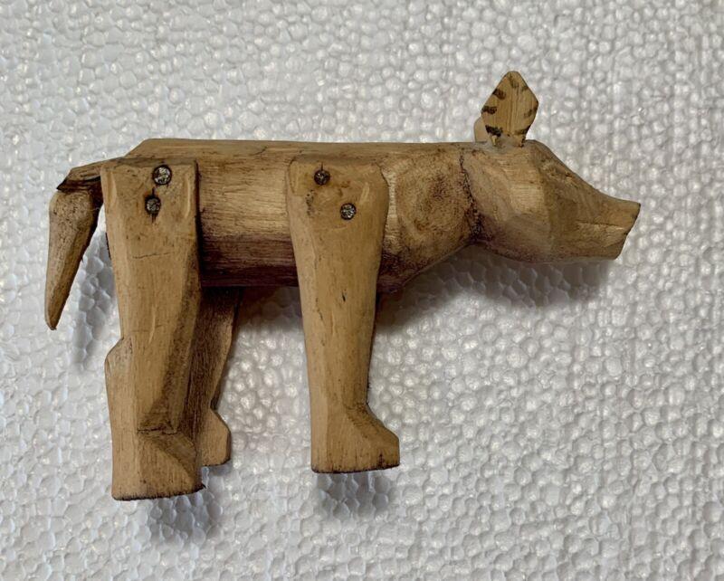 """OLD VINTAGE OAXACAN ART PRIMITIVE WOOD CARVED MEXICAN FOLK ART CARVED PIG 4 1/2"""""""