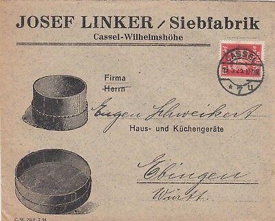 KASSEL-WILHELMSHÖHE, Briefumschlag 1925, Josef Linker Sieb-Fabrik