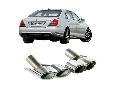 Auspuffblenden Endrohre Mercedes S-Klasse W221 S65 R230 CL65 W216 W166 Edelstahl