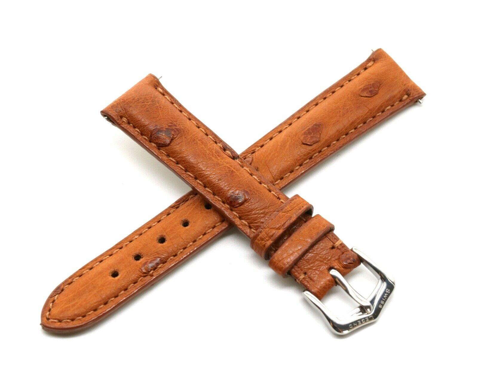 Rotary 16MM Echt Straußenleder Uhrenarmband Braun