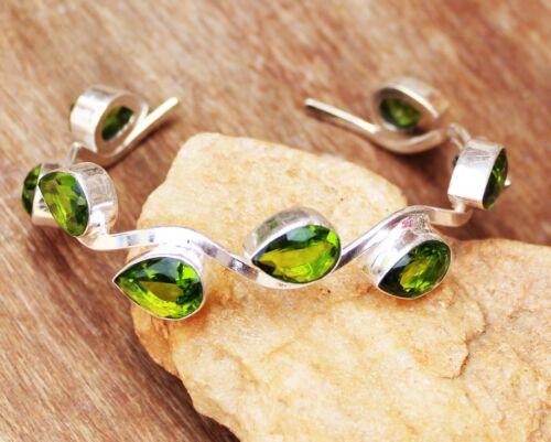925 Sterling Silver Green Peridot Gemstone Handmade Jewelry Bangle Sz 7-8