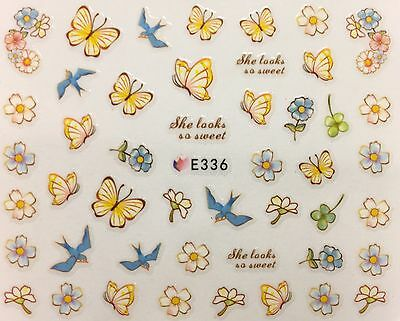 Nail Art 3D Decal Stickers Pale Yellow Flowers & Butterlies w/ Blue Birds E336