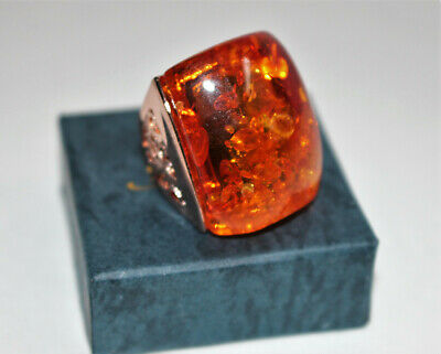 New, Exclusive Design Big Square Amber Stone, Gold Plated Ladies' Ring, sz 7,8,9 Amber Gold Plated Ring