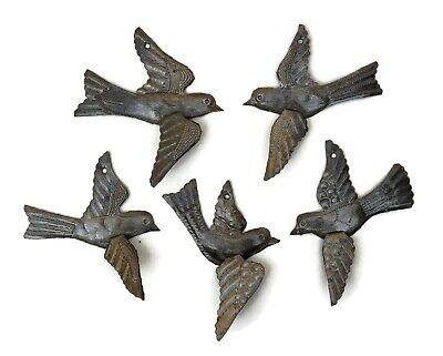Set of 5 Decorative Metal Haitian Birds Recycled Steel Drum Art 3-D Wings  Recycled Steel Drum