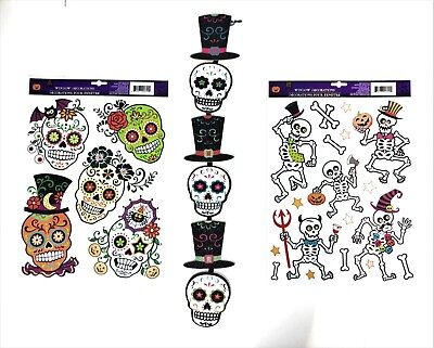 Day of The Dead Sugar Skull Halloween Festival Decorations  Fun and Funky 24 pcs - Funky Halloween Decorations