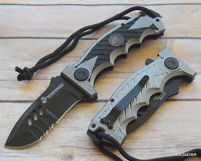 Mtech Officially Licensed Usmc Spring Assisted Rescue Knife   Razor Sharp  Blade