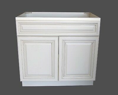 single Antique White Bathroom Vanity Base Cabinet solid wood 24