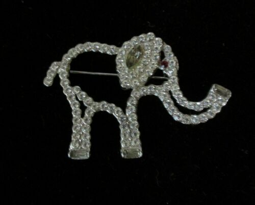 Vintage Cut Out Rhinestone Elephant Pin Brooch
