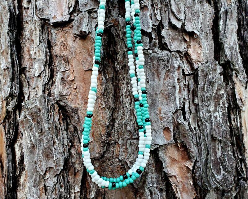 Jim Morrison Cobra Necklace The Doors Replica HANDMADE Glass Beads Teal & White