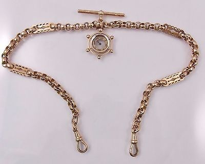 Vintage 9K Gold Pocket Watch Double Albert Chain Fob Ship Wheel Compass CDB