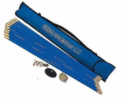 Industrial Bailey 5431 30ft Drain Rod Unblocker Plunger Set Cleaning Rods Bag