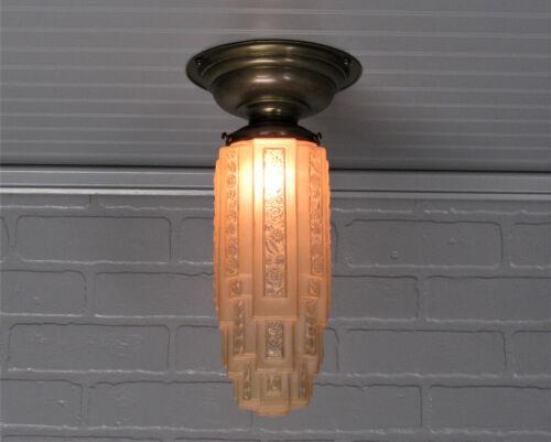 Vintage Antique Art Deco Semi Flush Mount Amber Sky Scraper Shade Light Restored