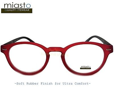 """MIASTO """"CIAO ITALY"""" PREPPY ROUND KEYHOLE READER READING GLASSES+2.50 COLOR RED"""