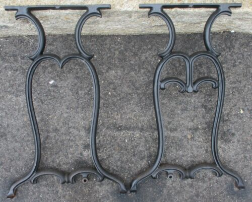 """set of 2 CAST IRON INDUSTRIAL LEGS TABLE BASE  Black 29"""" high"""