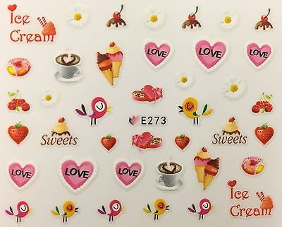 Nail Art 3D Decal Stickers Love Sweets Ice Cream Coffee Birds Yummy E273
